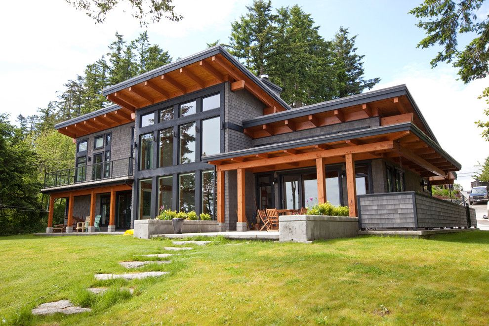 Image by island timber frame house exteriors for A frame house plans with basement