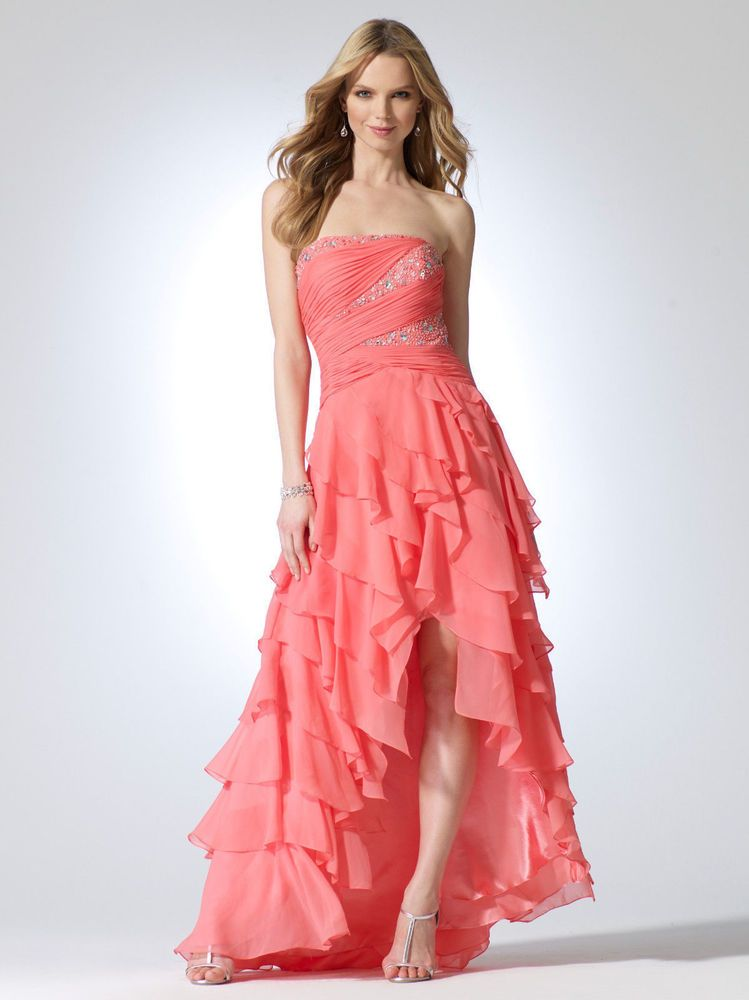 NWT Stunning CACHE Pink Chiffon Layered Evening Dress FORMAL GOWN 4 ...