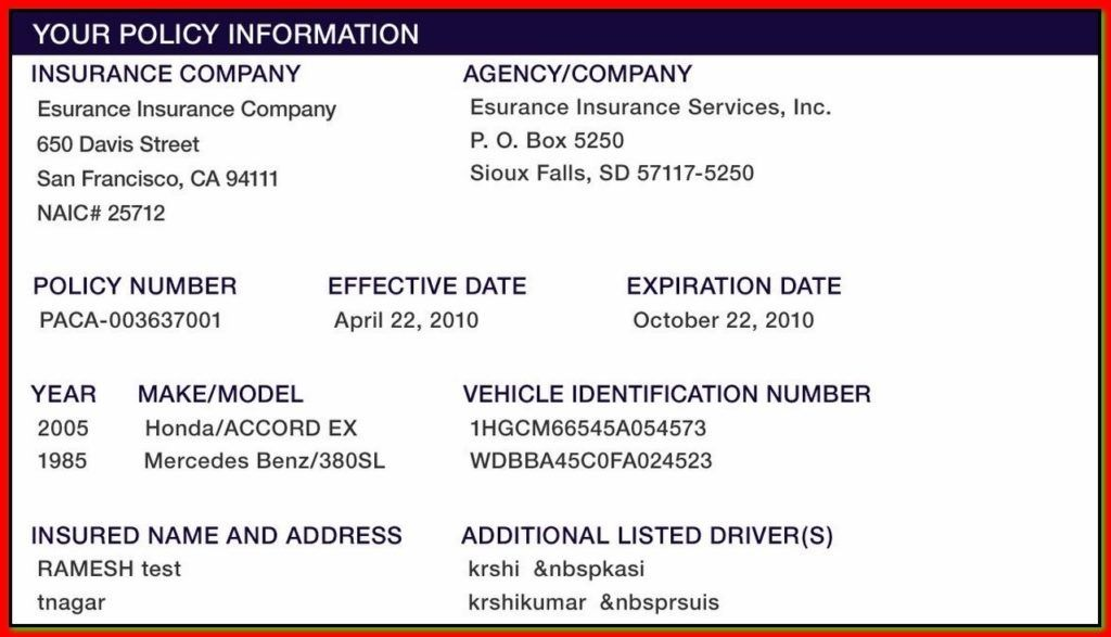 Proof Of Auto Insurance Template Free Card Template Card