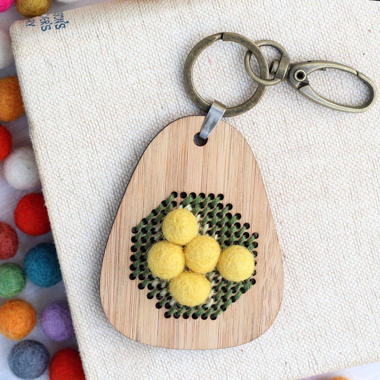 Embroidery keyring kit, DIY Wooden Keyring, embroidered