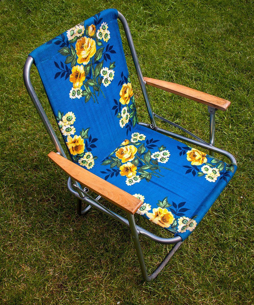 Best Vintage Retro Blue Yellow Floral Folding Aluminium 400 x 300