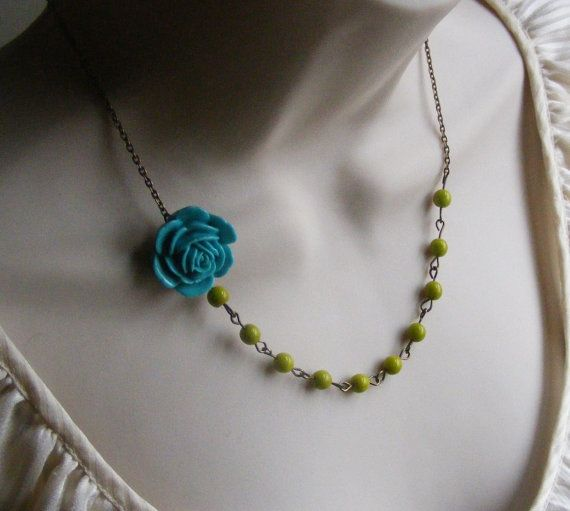 Turquoise Flower Beaded Necklace with Lime Green Glass Beads. Bridal Jewelry. Vintage Inspired. Chunky. Colorful. Assymetrical