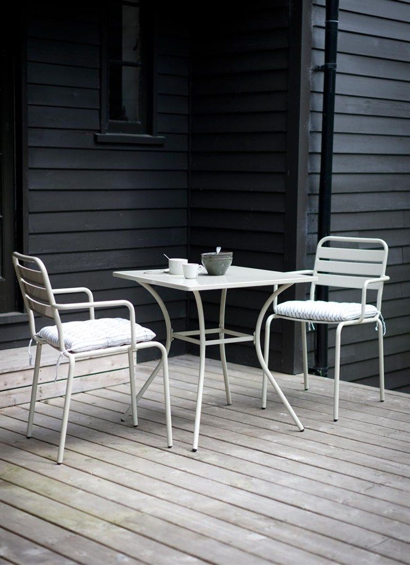 Two Seater Garden Table And Chairs Folding Chair Weight Limit Dean Street Set Furniture Outdoor A In Metal With Square Clay Buy Now Via Our Website