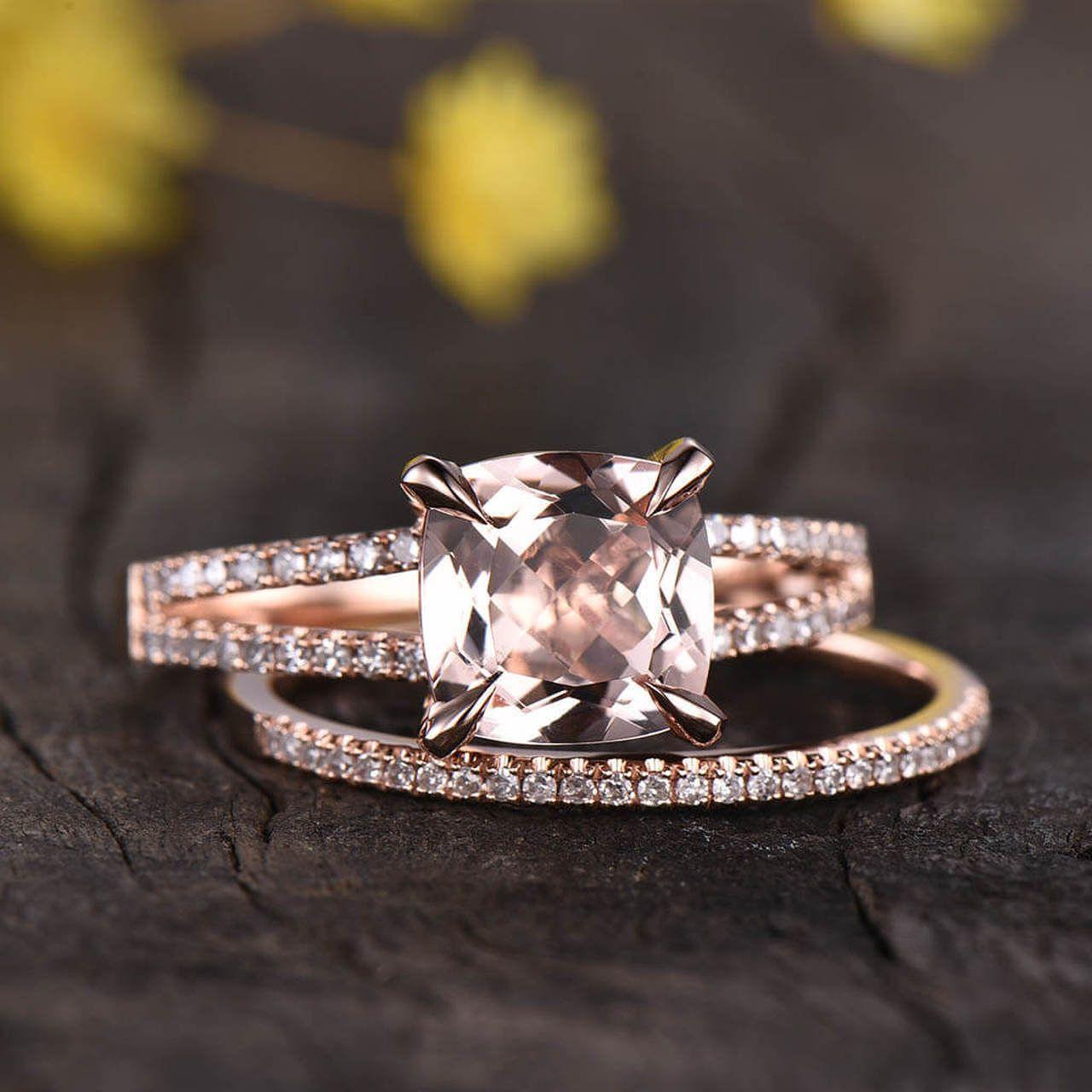 14k 18k Gold Cushion Morganite Engagement Ring Diamond Wedding Set In 2020 Morganite Engagement Ring Diamond Wedding Sets Morganite Engagement Ring Set