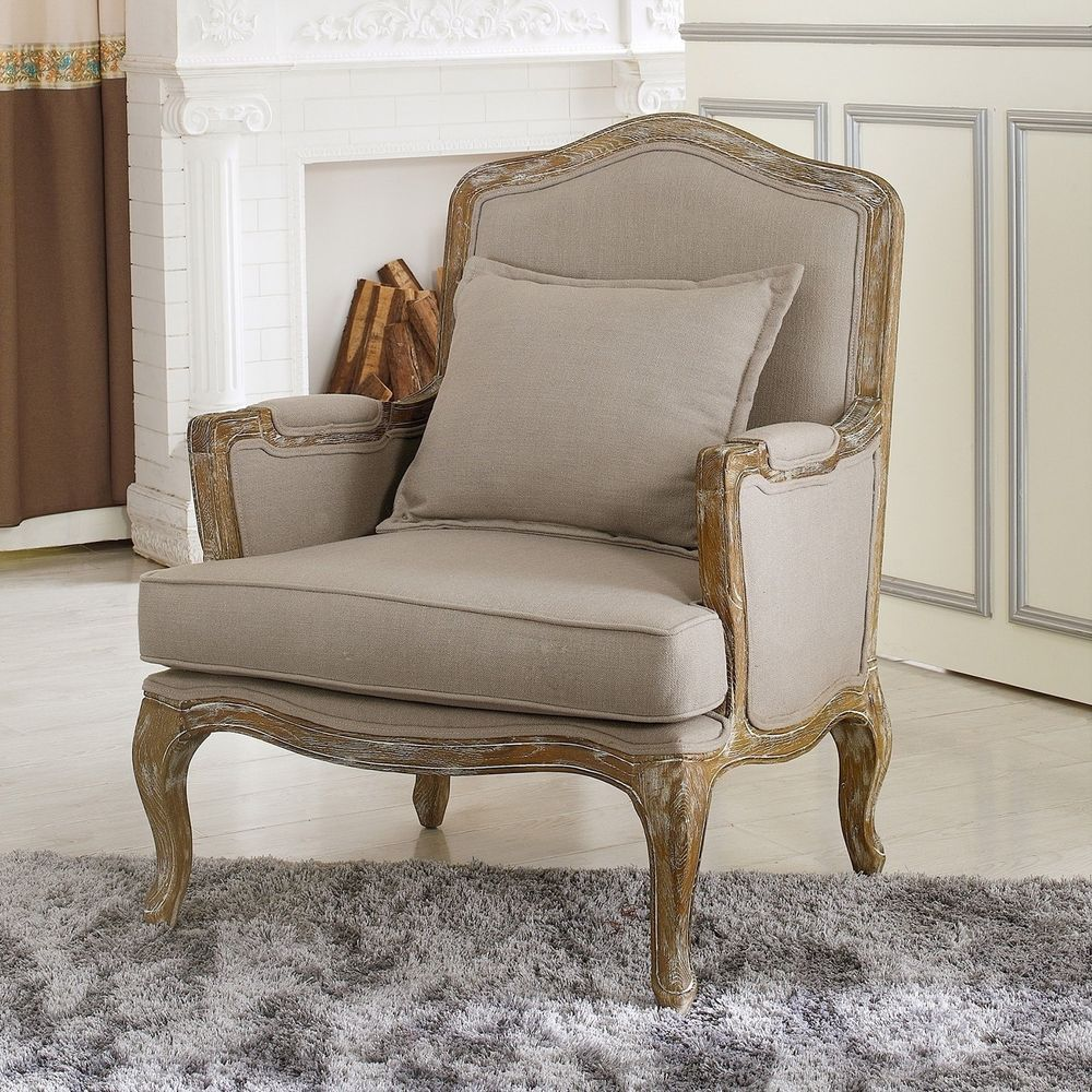 Antiqued Style French Country Accent Chair Wood Arm ...
