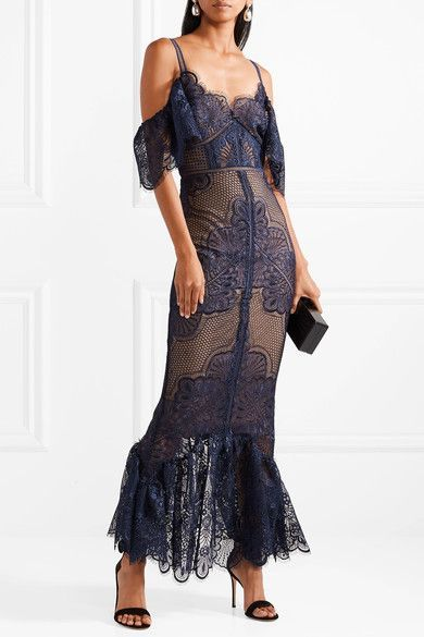 a98aa1d2 Marchesa Notte - Cold-shoulder Tulle-paneled Guipure Lace Gown - Storm blue