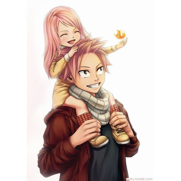 Trop cute natsu avec sa fille tant aussi la fille mangas mi liked on polyvore - Fille fairy tail ...