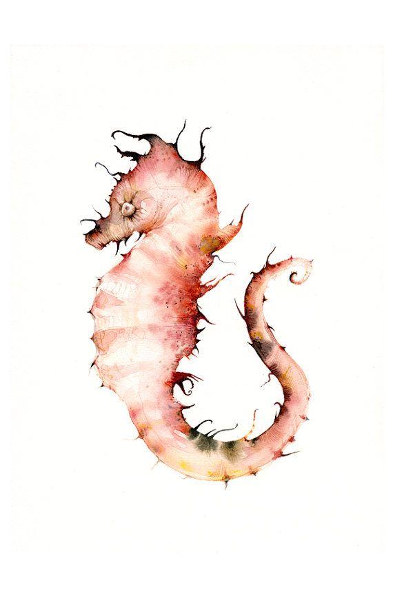 Seahorse watercolor seahorse art print-Corals by amberalexander
