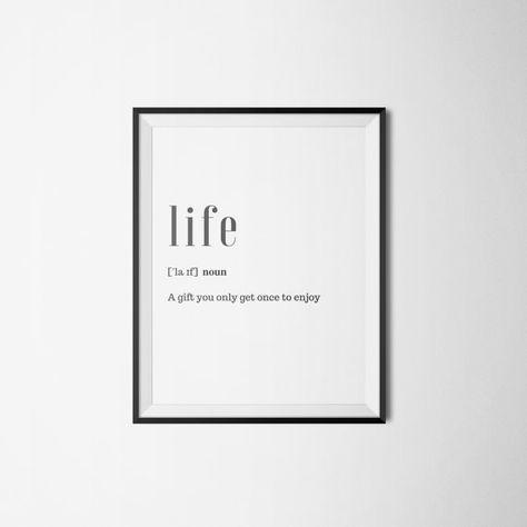 Definitie van het leven afdrukbare leven citaat Word Poster
