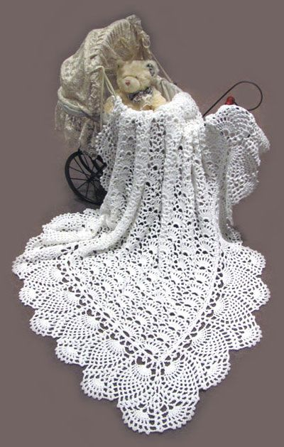 White 100 Australia Cotton Crocheted Baby Shawl No