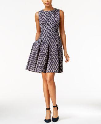 TOMMY HILFIGER Tommy Hilfiger Leopard-Print Fit & Flare Dress. #tommyhilfiger #cloth # dresses