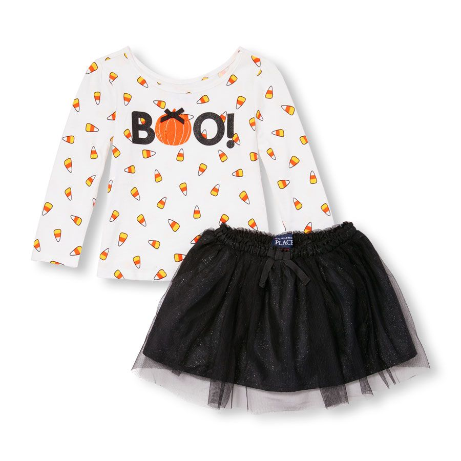 4dc42358 Toddler Girls Long Sleeve Embellished 'Boo!' Candy Corn Print Top and  Glitter…