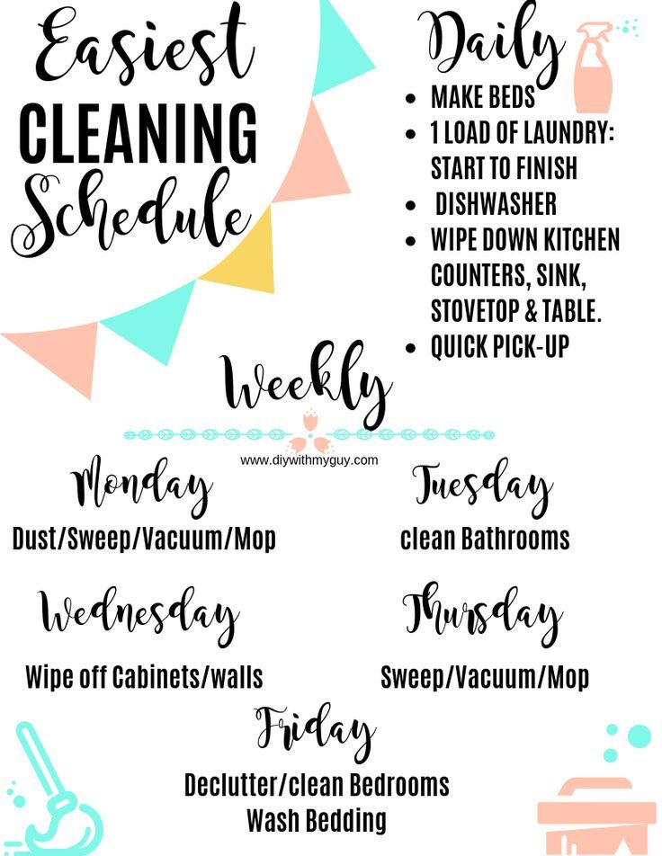 Weekly cleaning schedule includes a free printable. This is the  perfect Cleaning schedule for working moms. These are the best cleaning hacks to save time that everyone should know. #cleaningtips #cleaninghacks #housekeeping #homecleaningtips