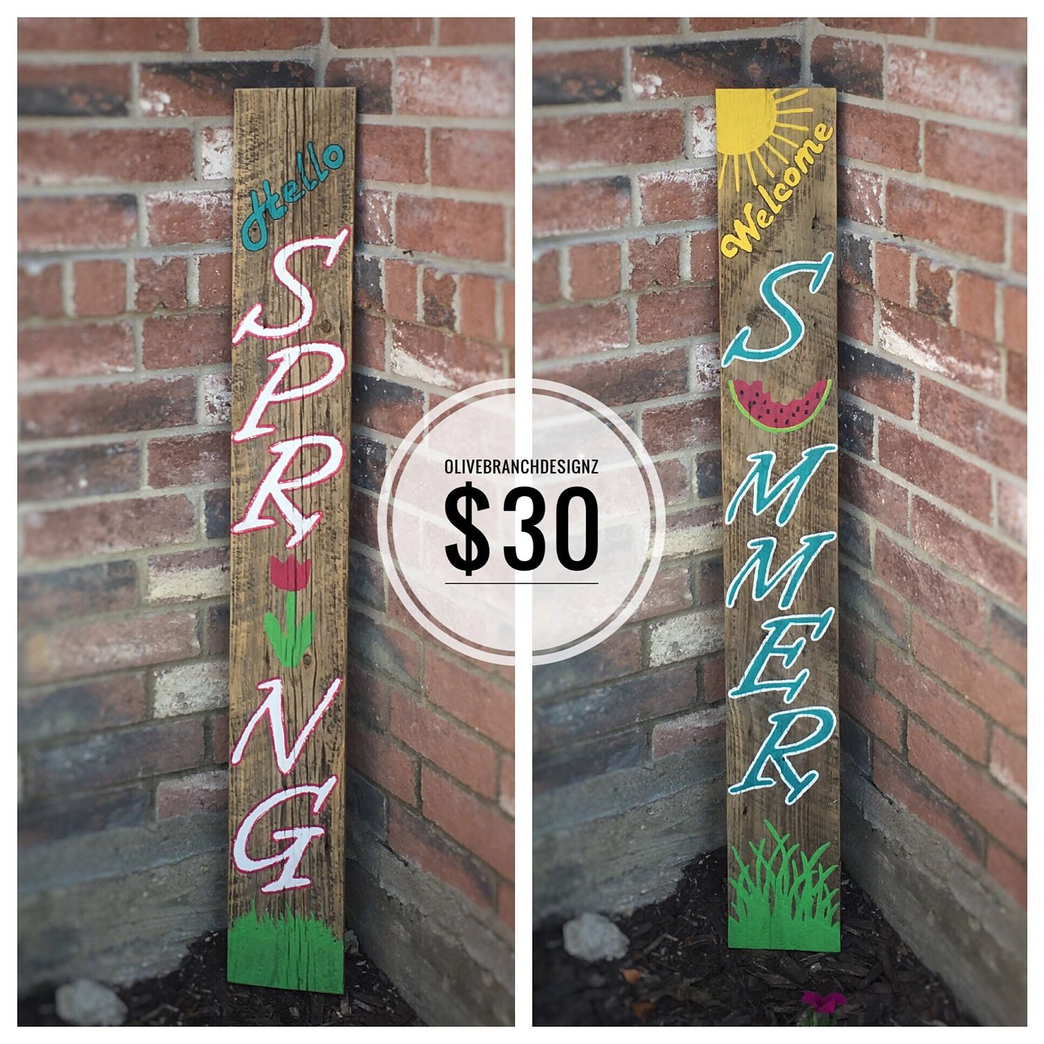 Spring Summer Porch Yard Garden Welcome Sign Reversible Reclaimed Wood By Olivebranchdesignz On Etsy Ht Diy Summer Crafts Porch Welcome Sign Diy Summer Decor