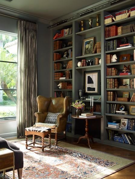 Library with painted bookshelves. by yobi | Dining room ...