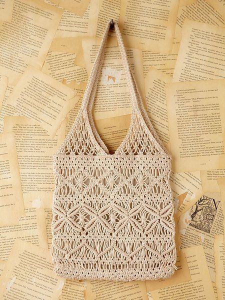 Free People Natural Vintage Macrame Handbag Macrame Bag