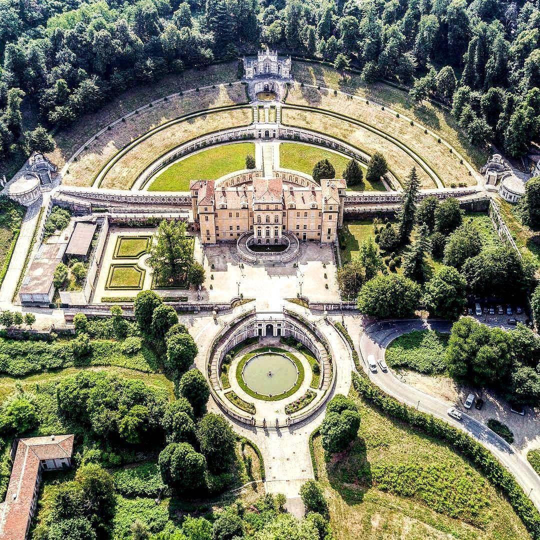 Aerial time Villa della Regina in Turin a beautiful place
