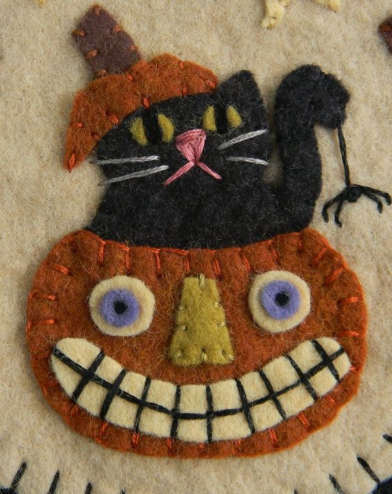 Boo! Halloween Cats & Pumpkins Penny Rug/Candle Mat MAILED PAPER PATTERN