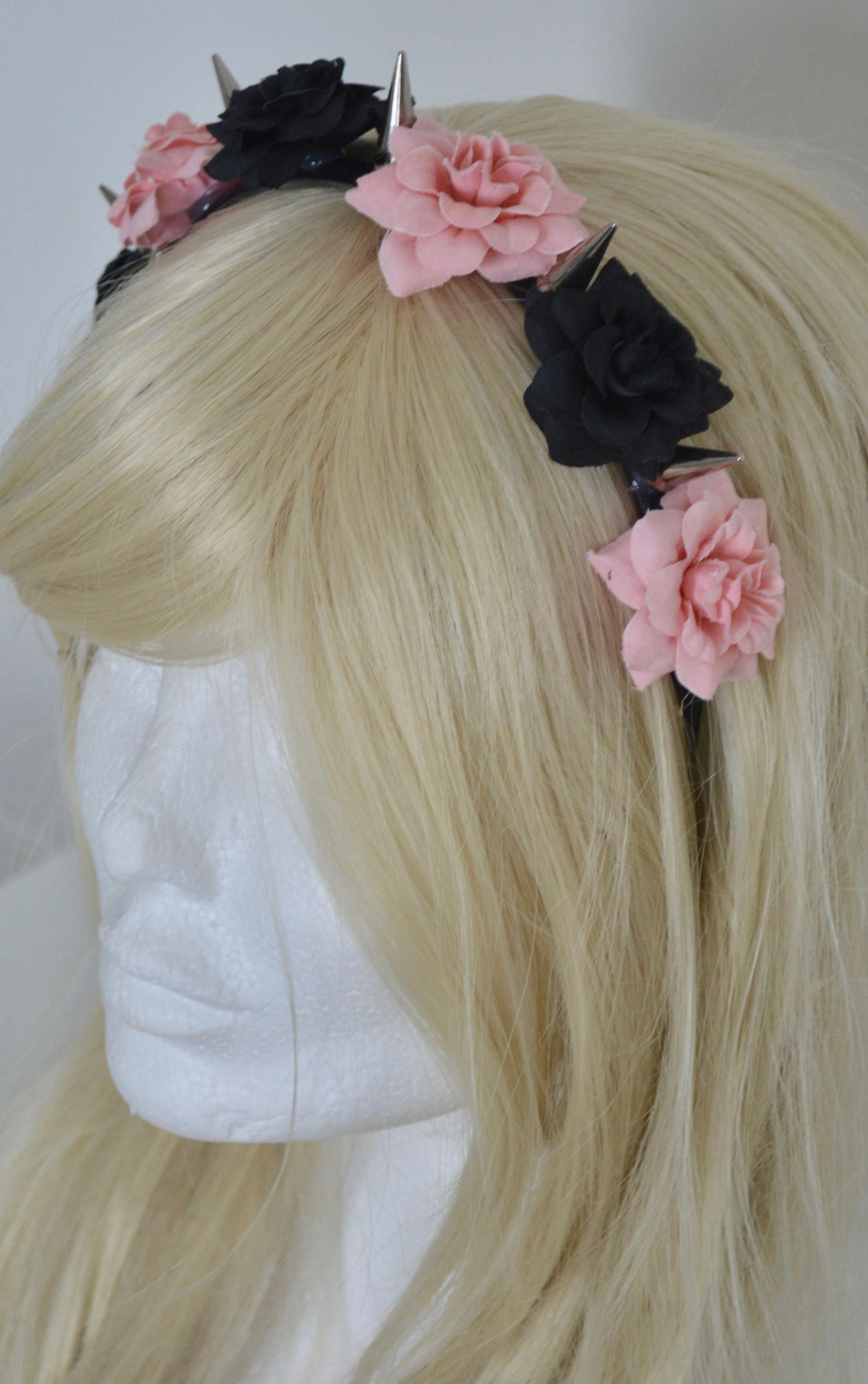Black And Soft Pink Roses Flower Crown Metal Spikes Hair Band Head