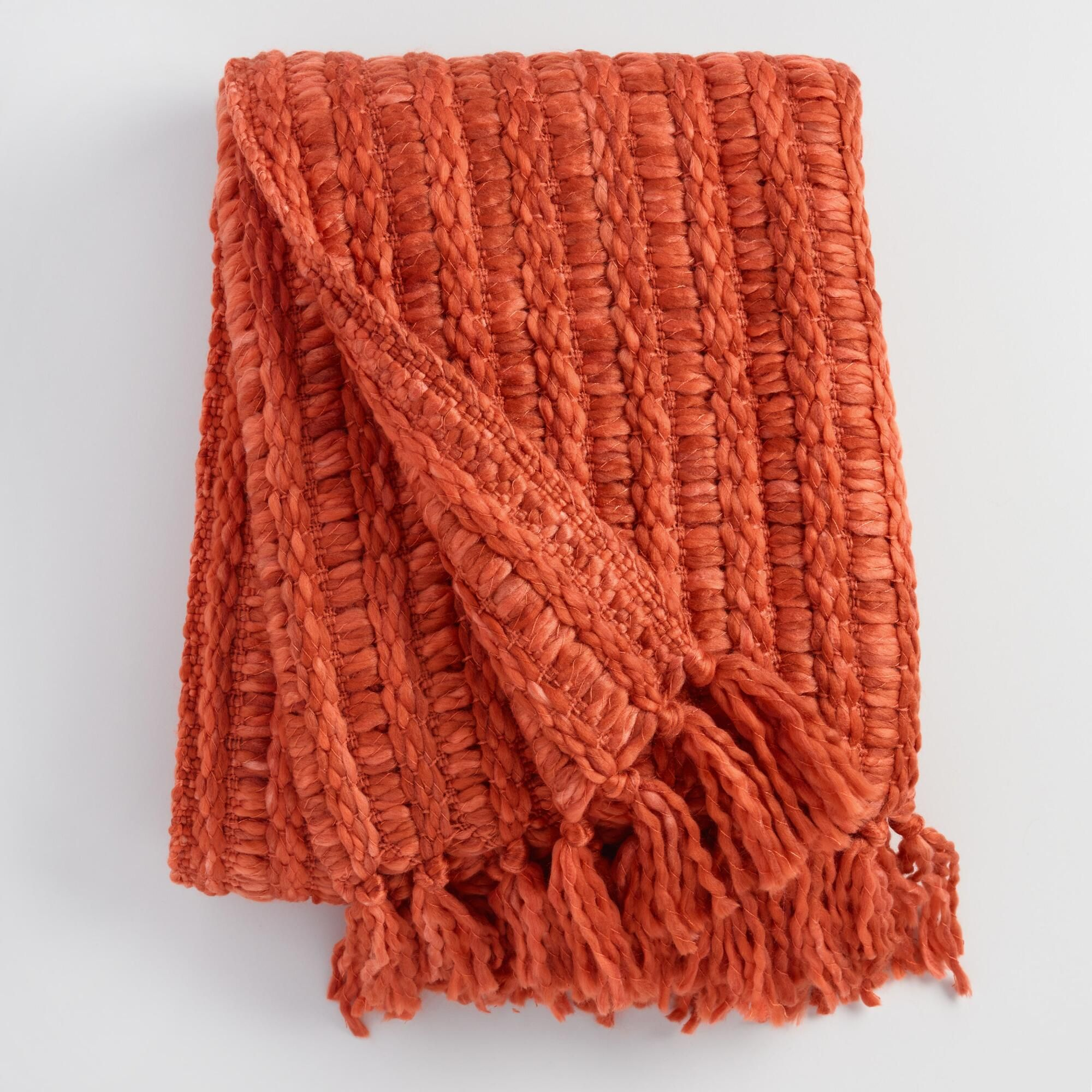 Rust Chunky Woven Throw Blanket: Orange by World Market in ...