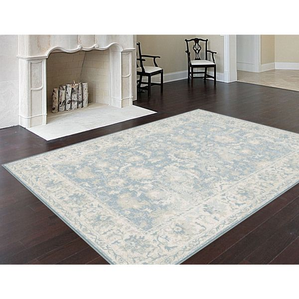 alise auralia traditional oriental blue area rug 7u00278 x - Grey Area Rugs