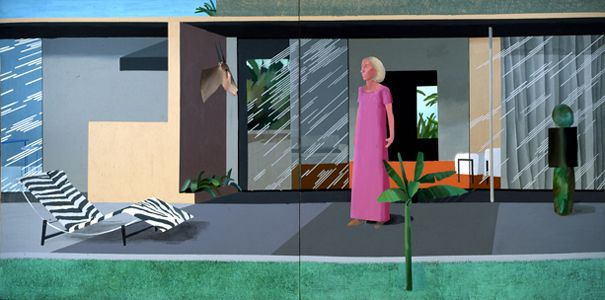 Beverley Hills Housewife by David Hockney, 1967. Depicts American philanthropist Betty Freeman standing on the patio of her luxury home in Los Angeles, California.