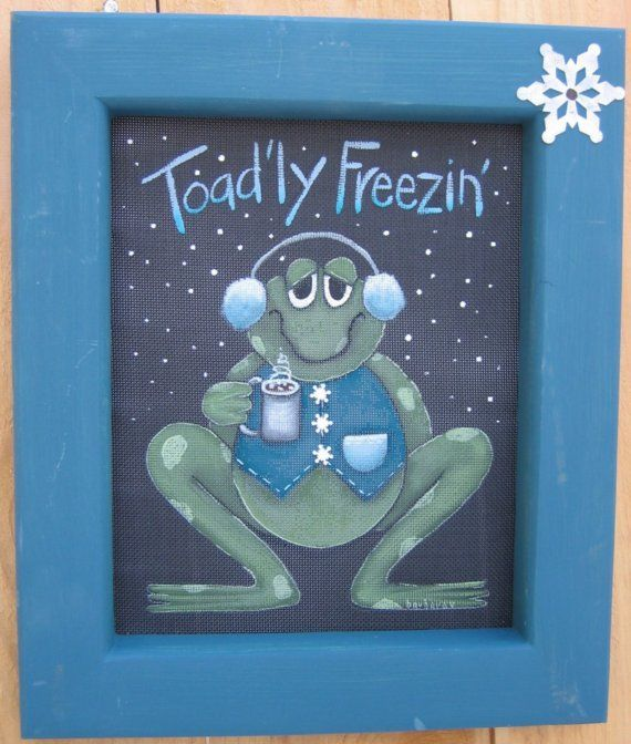 Toad'ly Freezin' Toad or Frog Decorative Painting Pattern, Tole Painting Pattern, Green Toad or Frog, January Toad, Hot Cocoa,Winter Time #tolepainting