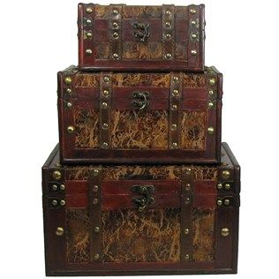 Hobby Lobby Decorative Boxes Brown Leather & Wood Vaneer Box Set  Shop Hobby Lobby  Dream