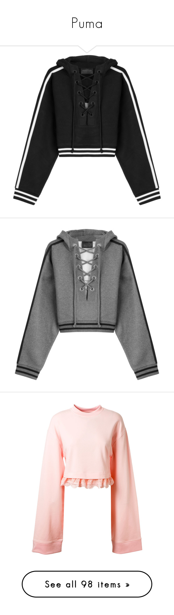 """""""Puma"""" by kellzchan ❤ liked on Polyvore featuring tops, hoodies, jackets, sweaters, cropped, black, lace up top, hooded sweatshirt, lace up crop top and oversized hoodies"""