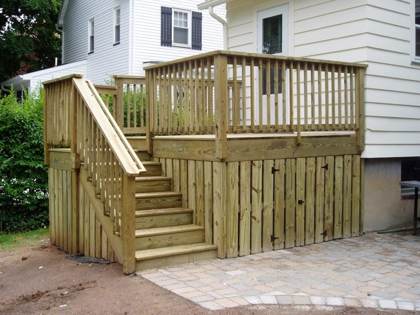 Cute Small Deck With Storage Underneath Nice For A Small Backyard Finish Our Steps Like This Under Deck Storage Deck Storage Diy Deck