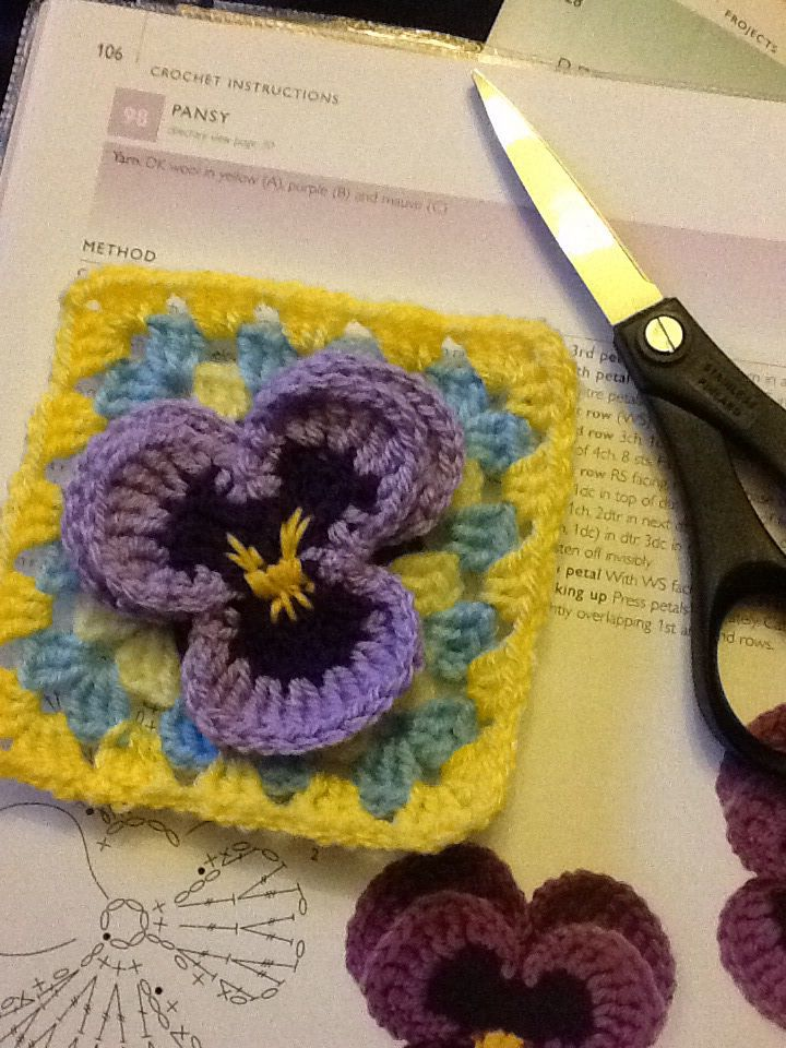 Crochet pansy square crochet mood blanket 2014