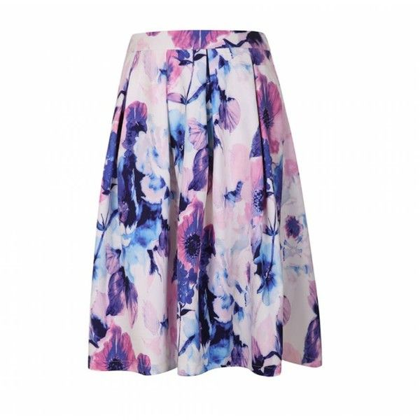 Ally Fashion Pink floral print skater midi skirt ($26) ❤ liked on Polyvore featuring skirts, print, white midi skirt, pink skirt, midi skater skirt, flower print skirt and pink skater skirt