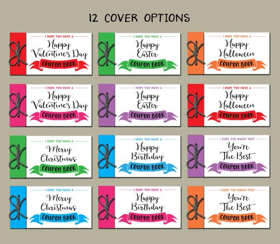 Kids Coupon Book. Printable Gift Idea. Instant Download