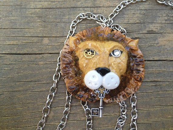Steampunk Lion Pendant/ Skeleton Key Lion Pendant with Chain by ConstantMindJewelry, $13.99