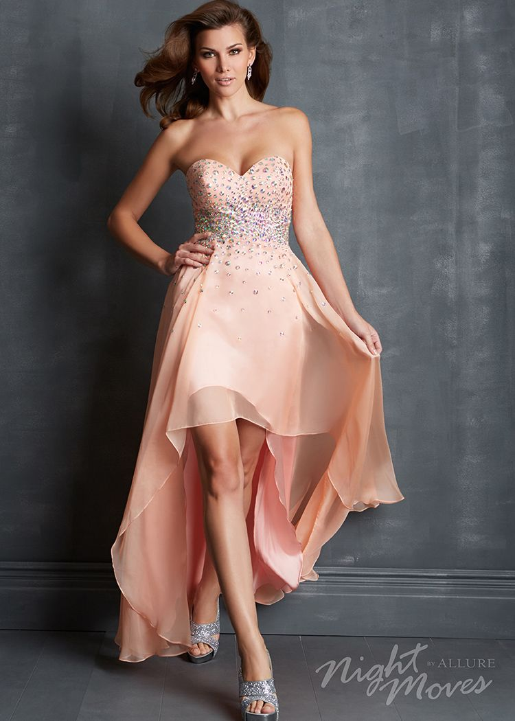 Night moves peach strapless beaded hilow prom dresses online
