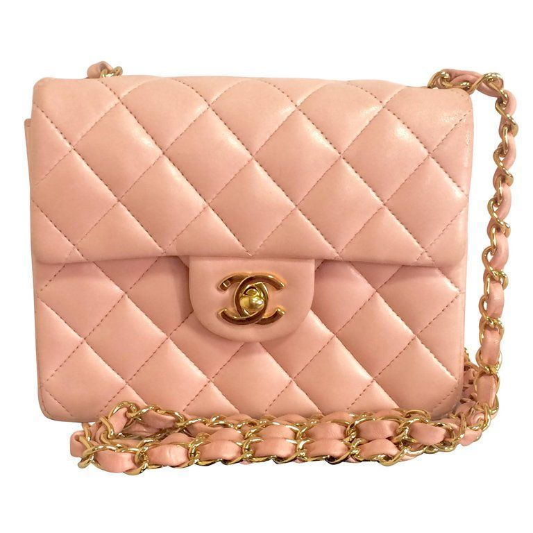 8b5746d4cb496c Vintage CHANEL pink lamb leather classic flap chain mini 2.55 shoulder bag.    From a
