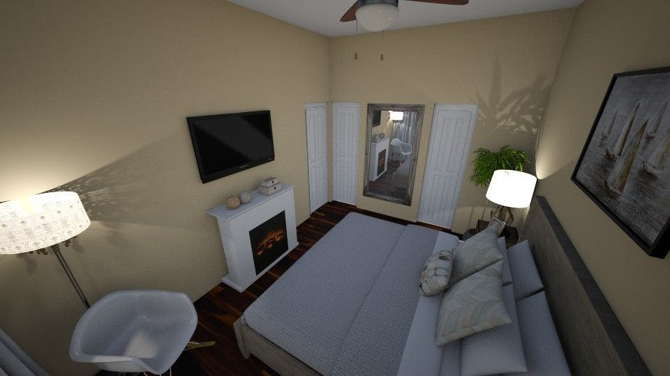 A Design Bedroom With Products Like The Water Boats Handmade Painting