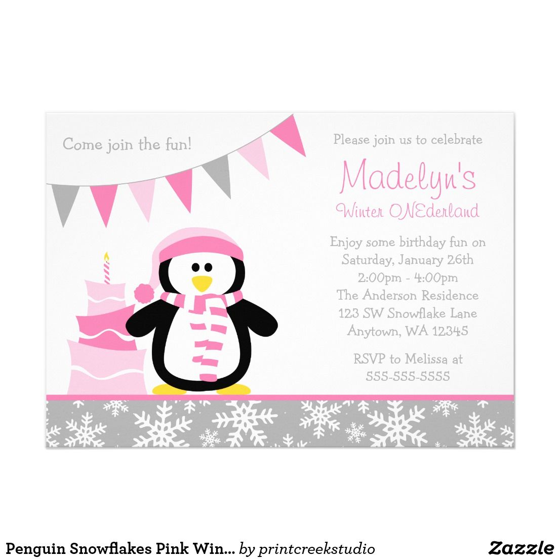 Penguin Snowflakes Pink Winter Onederland Birthday Card | Winter ...