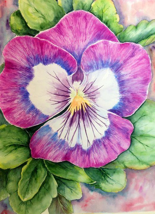 A Pansy - Mahjabin - Paintings & Prints Flowers Plants & Trees Flowers Flowers… | ArtPal thumbnail