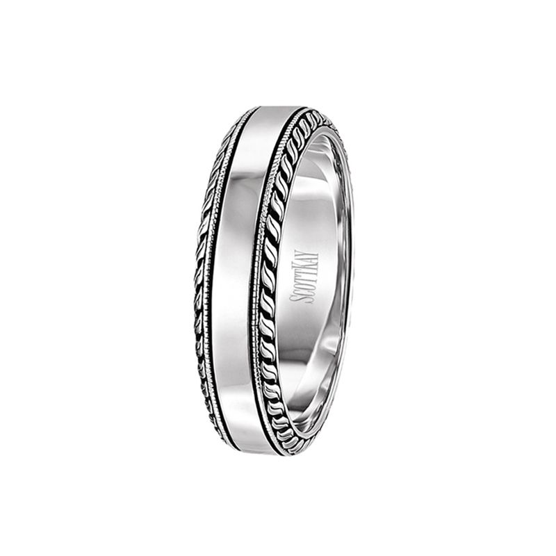 14kt White Gold Mens Wedding Band From The Vintage Collection By Scott Kay 6 Mm Mens Wedding Bands Mens Wedding Bands White Gold Wedding Rings Vintage
