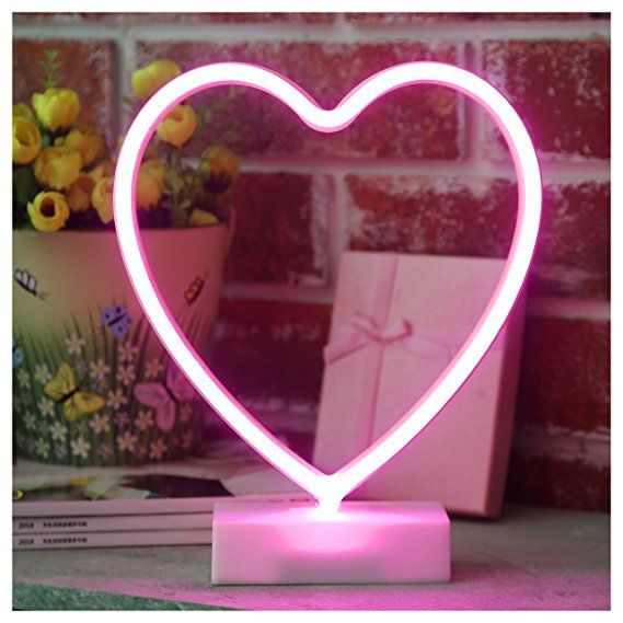 YiiY Heart Neon Sign Light,Table Decor Lamp,Battery Powered Decor ...