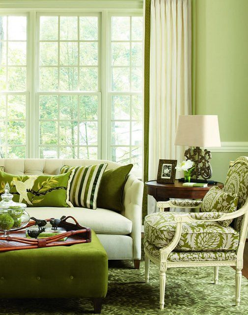 Apple green pretty living room sofa design cushions accent - Green living room ideas decorating ...
