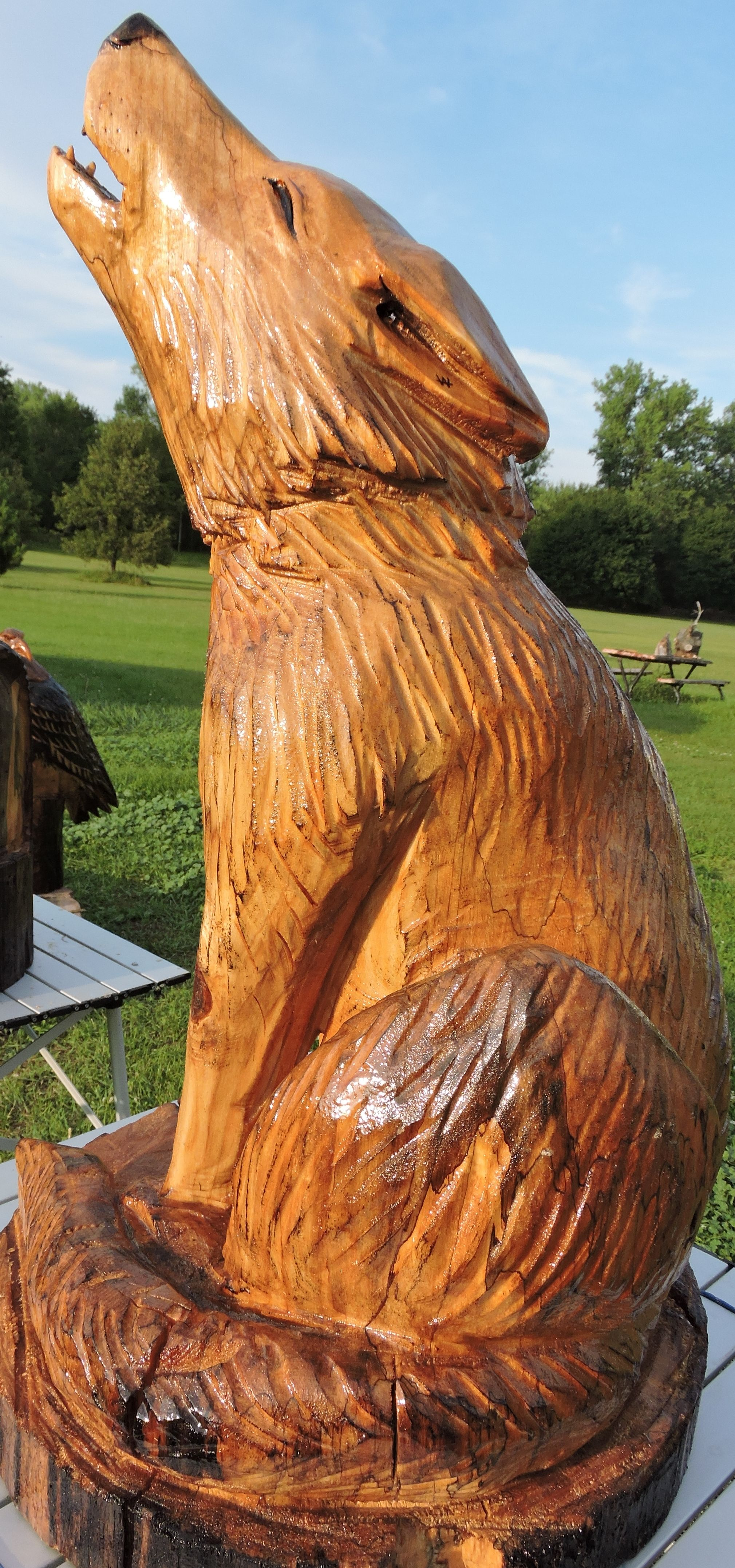 Wolf chainsaw sculpture year of clean water