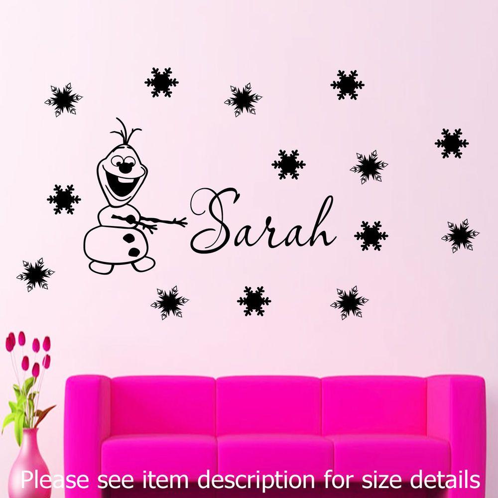 Disney frozen wall stencils - Disney Frozen Snowman Olaf Wall Stickers Kids Name Vinyl Decal Nursery Snowflake