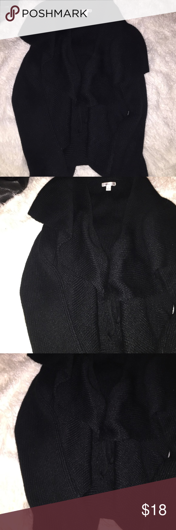 Cardigan It has a tie but u can wear it without it. Its pretty thick and perfect for winter. Fits more like a Large John Paul Richard Sweaters Cardigans