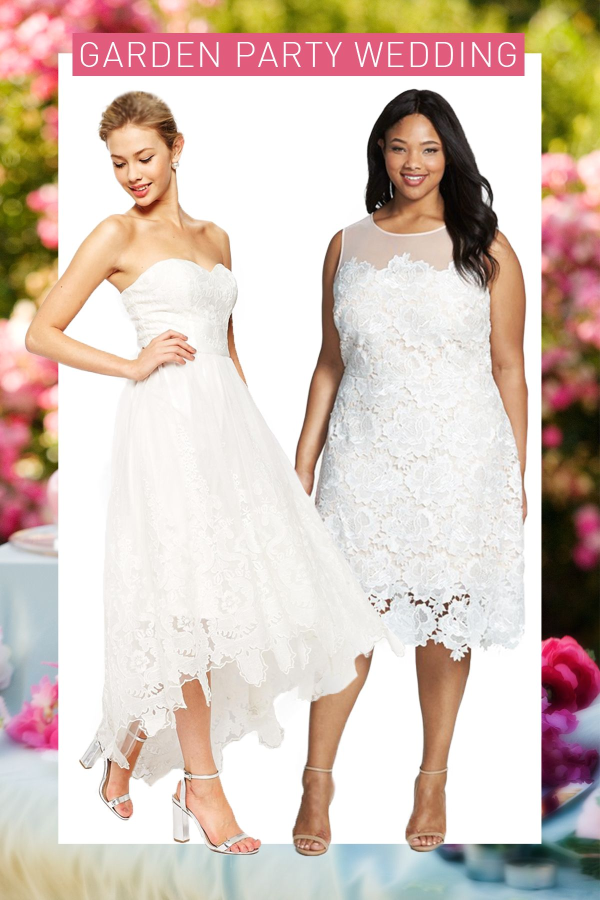 Embroidered Bandeau Dress, CHI CHI LONDON (Available at Asos), $135; Plus-Size Lace Sheath Dress, JULIA JORDAN (Available at Nordstrom), $198   - Cosmopolitan.com