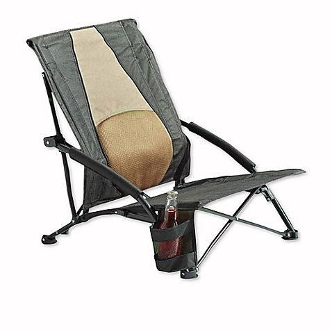 Outdoor Chair with Lumbar Support in BlackKhaki
