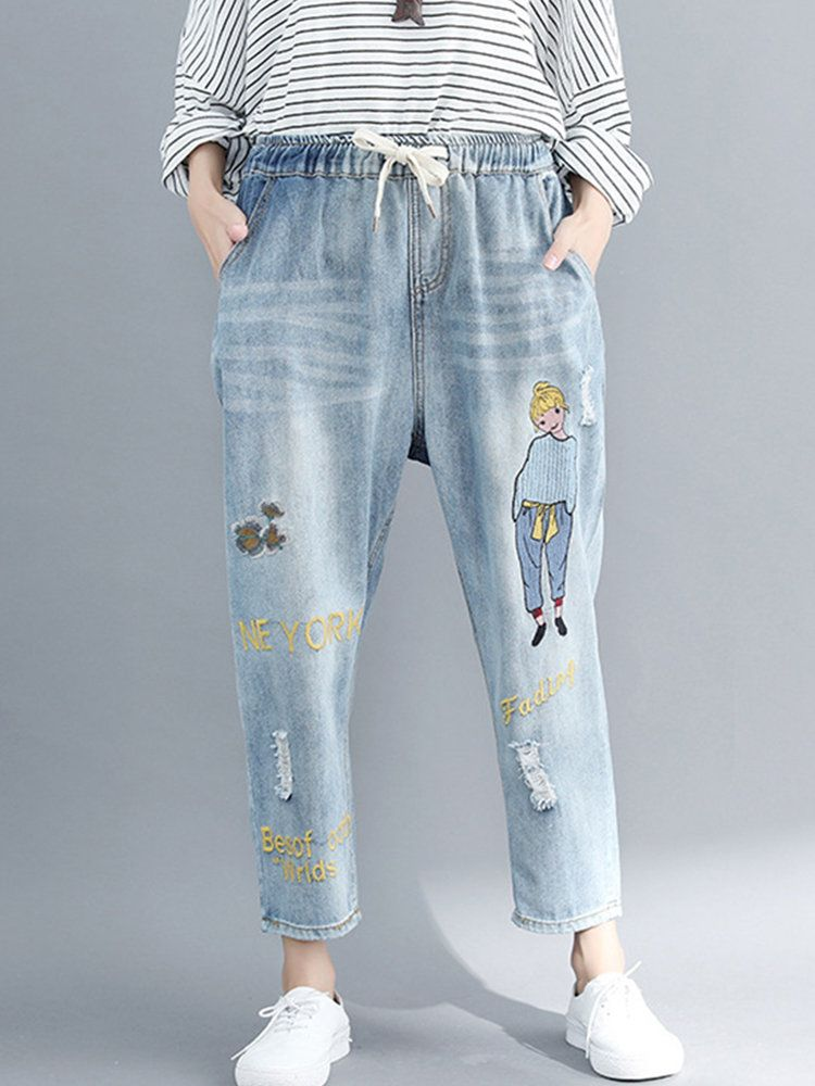 Casual Women Warm Elastic Plus Loose Denim Embroidered Cropped Jeans