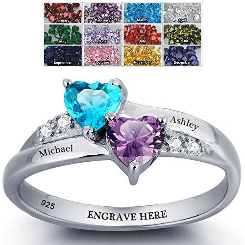 P16 Custom Engraved Jewelry and 1 Phrase 2 Birthstones Couple Heart Ring Personalized with 2 Names Promise Ring For Her Love Ring