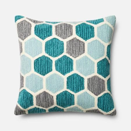 Honeycomb patterns come alive in BOXHILL's Indoor / Outdoor Pillow (Teal Hexagon). This line of pillows is made from the same durable polypropylene that we use in our vibrant outdoor rugs. This ensures that your pillow's colors will remain fresh and new, even in the harshest summer sun! View our whole line of outdoor pillows at www.shopboxhill.com